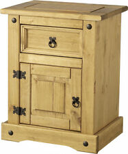 MEXICAN PINE CORONA 1 DOOR 1 DRAWER BEDSIDE CABINET *FREE NEXT DAY DELIVERY