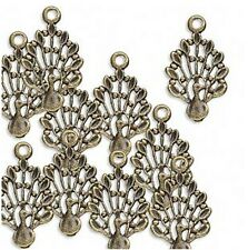 Peacock Charms Steampunk Antiqued Brass Lot of 10
