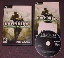 Call Of Duty (COD) 4: Modern WARFARE PER PC, DVD-ROM-completa in buonissima condizione