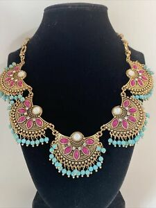 Plunder Magenta Turquoise Gold Tone Tribal Style Necklace
