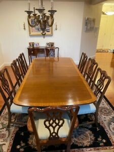 Henredon Traditional Mahogany Banded Dining Table w/ Double Pedestal & 8 Chairs