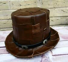 Unique OOAK GENUINE LEATHER Patchwork Browns Steampunk Top Hat (SA).1