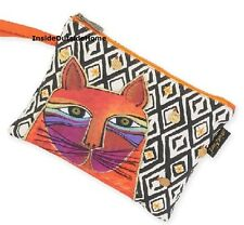 Laurel Burch Whiskered Orange Cat Wristlet Bag Handy Trips Round Town Nw Retired