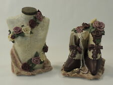 Finery Bookends Victorian Bust Shoe Pearls Flowers Floral Pink