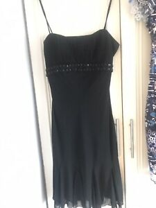 Black Evening Dress Size 10 Designer Strappy