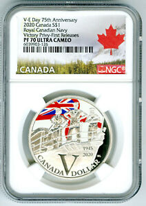 2020 $1 CANADA SILVER V-E VE-DAY NAVY VICTORY PRIVY NGC PF70 UCAM PROOF DOLLAR
