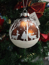 Christmas Tree Gorgeous Bauble Reindeer & Snow Scene Design White & Copper Color