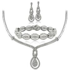 3/4 Ct Diamond Intertwining Infinity Necklace Bracelet Earrings Set in Brass