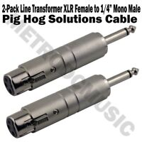 "2-Pack Pig Hog Line Transformer XLR Female to 1/4"" Mono Male Converter Lo-Z Hi-Z"