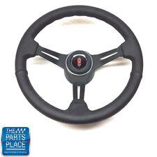 1969-88 Olds Black Leather & Black Anodized Steering Wheel & Rocket Center Cap