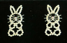 """Tone New Jewelry 1.5"""" High Bunny Rabbit Earrings Pierced Crystals Silver"""
