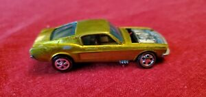 1967 Hot Wheels Redline Custom Mustang Fastback Lime with Brown Interior