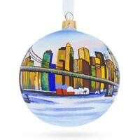 Brooklyn Bridge, New York Glass Ball Christmas Ornament 4 Inches