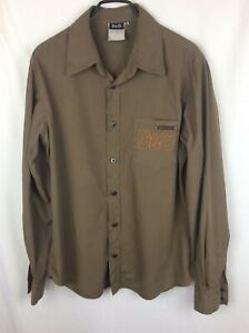 Men's Dolce And Gabbana Army Green Cotton Long Sleeved Shirt size XL