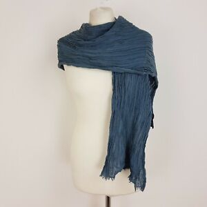 """Paul Taylor Oversize Scarf Green Grey Crinkle 72"""" x 18"""" Cotton Linen Cashmere"""