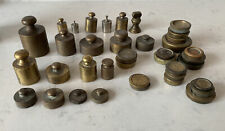 More details for large collection of vintage weights (38) brass mixture of grams and oz