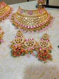Kundan High Quality Indian Bollywood Fashion Gold Plated Choker Necklace Set f04