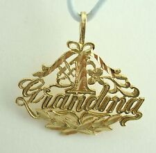 Very Nice 14K Yellow Gold Diamond Cut Etched #1 Grandma Charm B4778