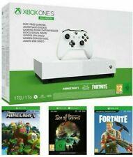 Microsoft Xbox One S All-Digital Edition 1TB Spielkonsole - Weiß Inkl. 3 Spielen (Sea of Thieves, Minecraft, Fortnite Battle Royale)