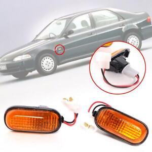 Side Marker Indicator Lamp Turn Signal Light Amber Pair Fit Honda Civic 1992-95