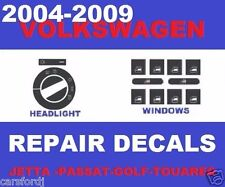 2004-2009 VW POWER WINDOW BUTTONS HEADLIGHT SWITCH WORN PEELING REPAIR DECALS