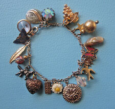 Vintage LOADED VINTAGE CHARM BRACELET Rhinestone Rivoli Crystal Butterfly Heart