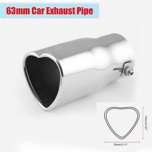 1Pcs 63mm Inlet Heart-shaped Car End Tip Tail Exhaust Pipe Muffler Lovely Gift