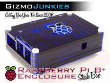 Raspberry Pi 2, 2B & B+ Plus Sliced Acrylic Case Trans Enclosure Box Blue/Black