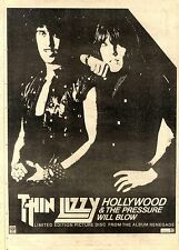 """27/2/82PGN32 ADVERT 15X11"""" THIN LIZZY : HOLLYWOOD & THE PRESSURE WILL BLOW"""