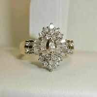 2.75 Ct Marquise Cut Diamond 10K Yellow Gold Over Heavy Cluster Engagement Ring