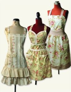 Shabby Chic Vintage Floral Aprons 100% Cotton Set of 3