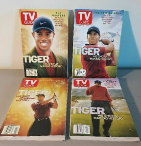 Tiger Woods TV Guide The Masters June 2001 - Complete Set Of 4 Diff Covers - NEW