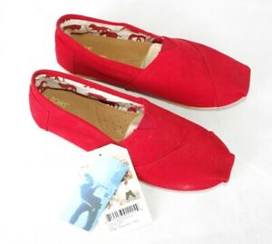 Authentic Genuine Toms Womans Red Classic Canvas Slip On Espadrille Shoes US 8.5