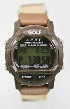AWNY Golf Watch Men Chron Light Alarm Date Brown Plastic Leather Water Re Quartz