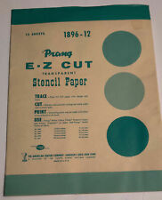 VINTAGE PACKAGE OF 12 SHEETS PRANG E-Z CUT TRANSPARENT STENCIL PAPER 1896-12