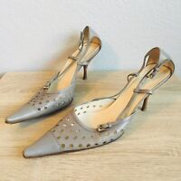 Womens Vintage Prada Silver Pointed Toe Strappy Heels Size 38.5