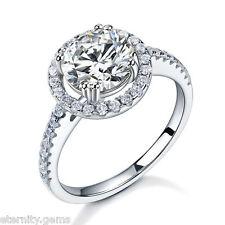 HALO NSCD DIAMOND WEDDING ENGAGEMENT 2 CARAT RING WHITE GOLD FINISH