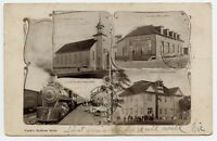 Chapleau ON Train Station ,Church ,School ,Library Vintage Postcard 1907