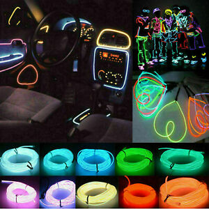 Neon LED Light Glow EL Wire String Strip Rope Tube Decor Car Party Halloween