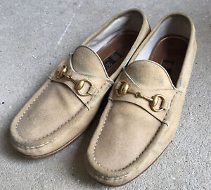 GUCCI BEIGE SUEDE LOAFERS SIZE 6.5 M HORSE BIT BUCKLE SLIP ON