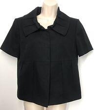 Tahari Arthur S. Levine Career Buckle Blazer Sz 8 Solid Black Short Sleeve Lined
