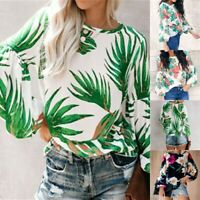 T-Shirt Ladies Crew Neck Long Sleeve Blouse Top Womens Loose Casual Shirt