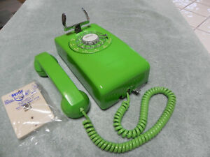 1968 Western Electric Bell System 554 Rotary Wall Phone w/ Lime Green Plastics