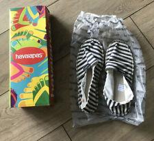 Havaianas Origine II Mujer Blanco y Azul a Rayas Lona Zapatos Talla 8W/7M