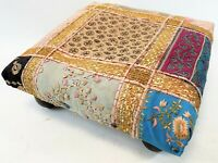 """Vintage 14"""" India Handmade Gold Floral Embroidery Patch Work Foot Stool Ottoman"""