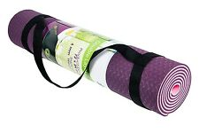 """Top Selling Eco Friendly TPE Yoga Mat Purple & Pink w Strap 6mm Thick 72"""" x 24"""""""