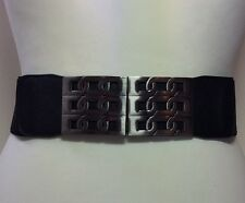 WIDE ELASTICATED BLACK WAIST BELT / LEATHER & SILVER METAL BUCKLE / FASHION 55