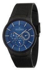 Skagen Men's Black Plated Titanium Slim Blue Dial Watch 809XLTBN