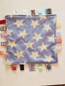 Taggies Blue Yellow Stars Fleece Baby Security Blanket Lovey