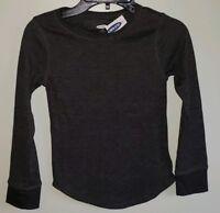 NEW Old Navy Girl 6-7 8 10-12 Long Sleeve Thermal Top CHARCOAL GRAY Shirt #10219
